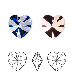 drop, swarovski crystals, crystal passions, crystal heliotrope, 14x14mm xilion heart pendant (6228). sold individually.
