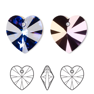 drop, swarovski crystals, crystal passions, crystal heliotrope, 18x18mm xilion heart pendant (6228). sold per pkg of 24.