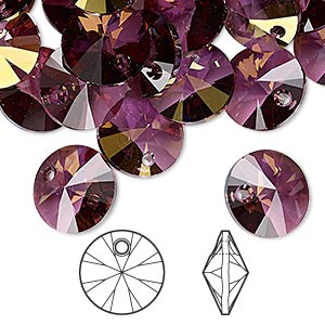 drop, swarovski crystals, crystal passions, crystal lilac shadow, 12mm xilion rivoli pendant (6428). sold per pkg of 12.