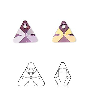 drop, swarovski crystals, crystal passions, crystal lilac shadow, 12mm xilion triangle pendant (6628). sold per pkg of 12.