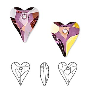 drop, swarovski crystals, crystal passions, crystal lilac shadow, 17x14mm faceted wild heart pendant (6240). sold per pkg of 12.