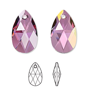drop, swarovski crystals, crystal passions, crystal lilac shadow, 22x13mm faceted pear pendant (6106). sold per pkg of 24.