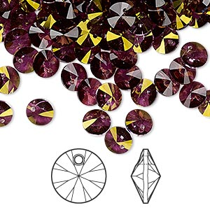drop, swarovski crystals, crystal passions, crystal lilac shadow, 6mm xilion rivoli pendant (6428). sold per pkg of 144 (1 gross).
