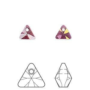 drop, swarovski crystals, crystal passions, crystal lilac shadow, 8mm xilion triangle pendant (6628). sold per pkg of 6.