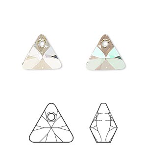 drop, swarovski crystals, crystal passions, crystal luminous green, 12mm xilion triangle pendant (6628). sold per pkg of 12.