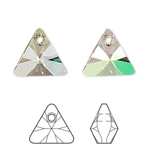 drop, swarovski crystals, crystal passions, crystal luminous green, 16mm xilion triangle pendant (6628). sold per pkg of 6.