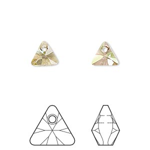 drop, swarovski crystals, crystal passions, crystal luminous green, 8mm xilion triangle pendant (6628). sold per pkg of 6.