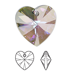drop, swarovski crystals, crystal passions, crystal paradise shine, 28x28mm xilion heart pendant (6228). sold individually.