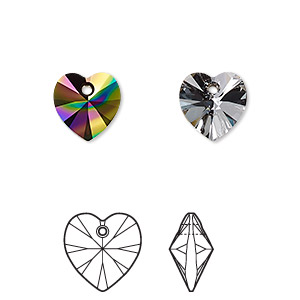 drop, swarovski crystals, crystal passions, crystal rainbow dark, 10mm xilion heart pendant (6228). sold per pkg of 2.