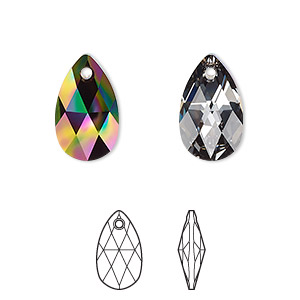 drop, swarovski crystals, crystal passions, crystal rainbow dark, 16x9mm faceted pear pendant (6106). sold per pkg of 24.