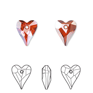 drop, swarovski crystals, crystal passions, crystal red magma, 12x10mm faceted wild heart pendant (6240). sold per pkg of 18.