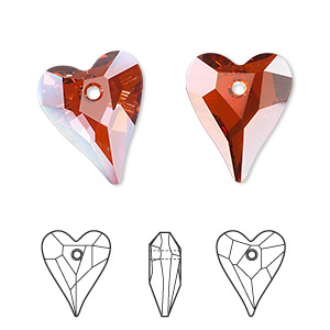 drop, swarovski crystals, crystal passions, crystal red magma, 17x14mm faceted wild heart pendant (6240). sold per pkg of 72.