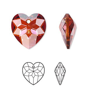 drop, swarovski crystals, crystal passions, crystal red magma, 18x17mm faceted heart pendant (6215). sold per pkg of 24.