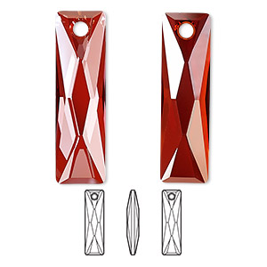 drop, swarovski crystals, crystal passions, crystal red magma, 25x7mm faceted queen baguette pendant (6465). sold individually.