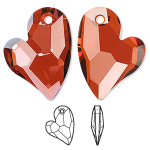 drop, swarovski crystals, crystal passions, crystal red magma, 27x20mm faceted devoted 2 u heart pendant (6261). sold per pkg of 20.