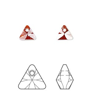 drop, swarovski crystals, crystal passions, crystal red magma, 8mm xilion triangle pendant (6628). sold per pkg of 24.