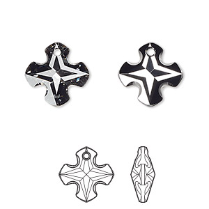 drop, swarovski crystals, crystal passions, crystal silver night, 14mm faceted greek cross pendant (6867). sold per pkg of 12.
