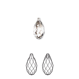 drop, swarovski crystals, crystal passions, crystal silver patina, 11x5.5mm faceted briolette pendant (6010). sold per pkg of 24.