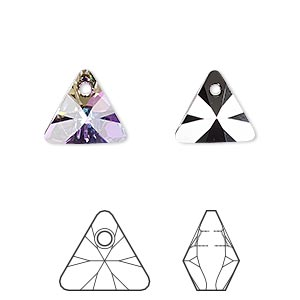 drop, swarovski crystals, crystal passions, crystal vitrail light p, 12mm xilion triangle pendant (6628). sold per pkg of 2.