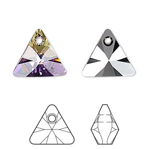 drop, swarovski crystals, crystal passions, crystal vitrail light p, 16mm xilion triangle pendant (6628). sold per pkg of 6.
