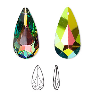 drop, swarovski crystals, crystal passions, crystal vitrail medium, 24x12mm faceted teardrop pendant (6100). sold individually.