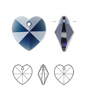 drop, swarovski crystals, crystal passions, dark indigo, 18x18mm xilion heart pendant (6228). sold individually.