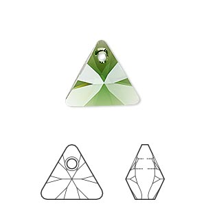 drop, swarovski crystals, crystal passions, dark moss green, 16mm xilion triangle pendant (6628). sold individually.