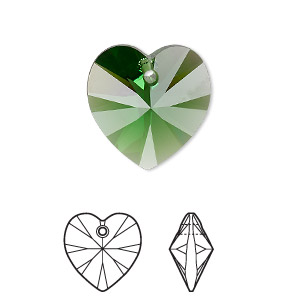 drop, swarovski crystals, crystal passions, dark moss green, 18x18mm xilion heart pendant (6228). sold individually.