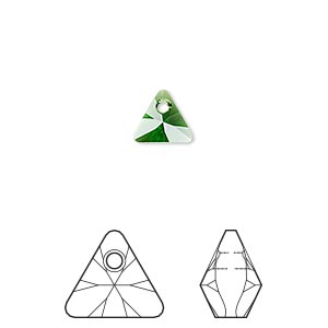 drop, swarovski crystals, crystal passions, dark moss green, 8mm xilion triangle pendant (6628). sold per pkg of 6.