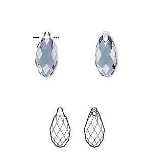 drop, swarovski crystals, crystal passions, denim blue, 13x6.5mm faceted briolette pendant (6010). sold per pkg of 24.