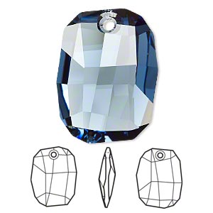 drop, swarovski crystals, crystal passions, denim blue, 28x21mm faceted graphic pendant (6685). sold per pkg of 6.