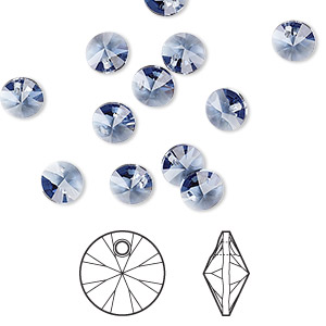 drop, swarovski crystals, crystal passions, denim blue, 6mm xilion rivoli pendant (6428). sold per pkg of 12.