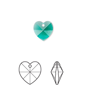 drop, swarovski crystals, crystal passions, emerald, 10x10mm xilion heart pendant (6228). sold per pkg of 24.
