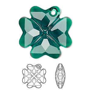 drop, swarovski crystals, crystal passions, emerald, 28mm faceted clover pendant (6764). sold individually.