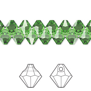 drop, swarovski crystals, crystal passions, fern green, 6mm faceted bicone pendant (6301). sold per pkg of 144 (1 gross).