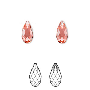 drop, swarovski crystals, crystal passions, indian pink, 11x5.5mm faceted briolette pendant (6010). sold per pkg of 24.