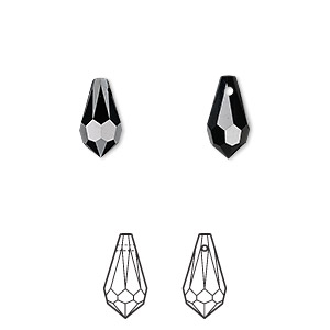 drop, swarovski crystals, crystal passions, jet, 11x5.5mm faceted teardrop pendant (6000). sold per pkg of 2.
