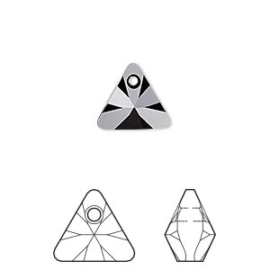drop, swarovski crystals, crystal passions, jet, 12mm xilion triangle pendant (6628). sold per pkg of 12.