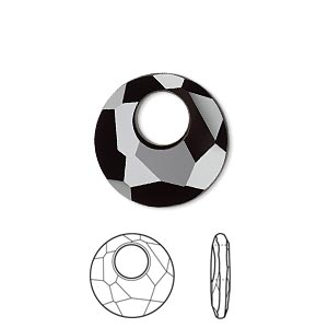 drop, swarovski crystals, crystal passions, jet, 18mm faceted victory pendant (6041). sold per pkg of 6.