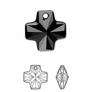 drop, swarovski crystals, crystal passions, jet, 20x20mm faceted cross pendant (6866). sold individually.