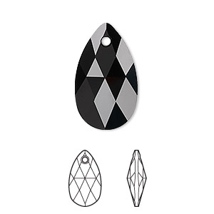 drop, swarovski crystals, crystal passions, jet, 22x13mm faceted pear pendant (6106). sold per pkg of 24.