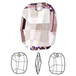 drop, swarovski crystals, crystal passions, light amethyst, 28x21mm faceted graphic pendant (6685). sold individually.