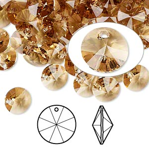 drop, swarovski crystals, crystal passions, light colorado topaz, 8mm xilion rivoli pendant (6428). sold per pkg of 12.