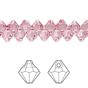drop, swarovski crystals, crystal passions, light rose, 6mm faceted bicone pendant (6301). sold per pkg of 12.