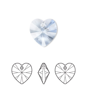 drop, swarovski crystals, crystal passions, light sapphire, 14x14mm xilion heart pendant (6228). sold per pkg of 24.