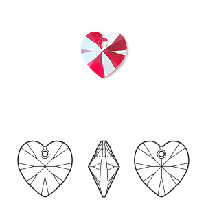 drop, swarovski crystals, crystal passions, light siam shimmer, 10mm xilion heart pendant (6228). sold per pkg of 2.