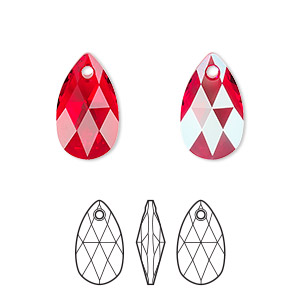 drop, swarovski crystals, crystal passions, light siam shimmer, 16x9mm faceted pear pendant (6106). sold per pkg of 24.