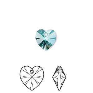 drop, swarovski crystals, crystal passions, light turquoise, 10x10mm xilion heart pendant (6228). sold per pkg of 2.