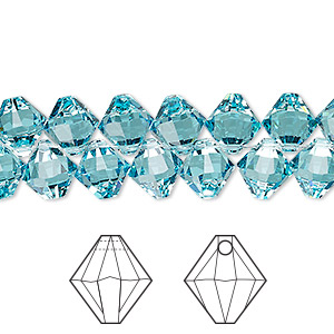 drop, swarovski crystals, crystal passions, light turquoise, 8mm xilion bicone pendant (6328). sold per pkg of 12.