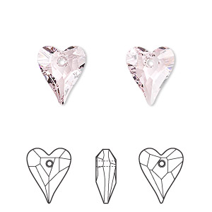 drop, swarovski crystals, crystal passions, rosaline, 12x10mm faceted wild heart pendant (6240). sold per pkg of 108.